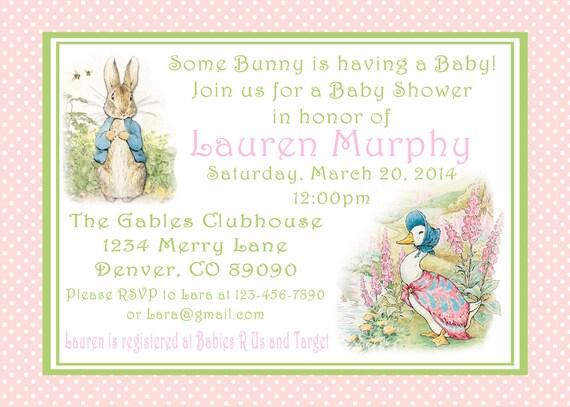 Peter Rabbit Baby Shower Invitations Beatrix PotterPrintable PDF Bunny  Easter 1st Birthday Party Decorations Baby Shower Birthday