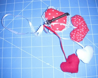Valentine Hearts and brass skeleton key to my heart accessory