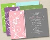 Sassy Swirls Custom Bridal Shower Invitation or Save the Date Announcement Design