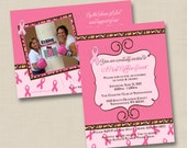 Sassy Breast Cancer Benefit Custom Party Invitation Design- with or without photo
