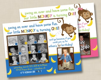 Our Little Monkey is Turning One Custom Birthday Party Collage Photo Invitation Design - boy or girl