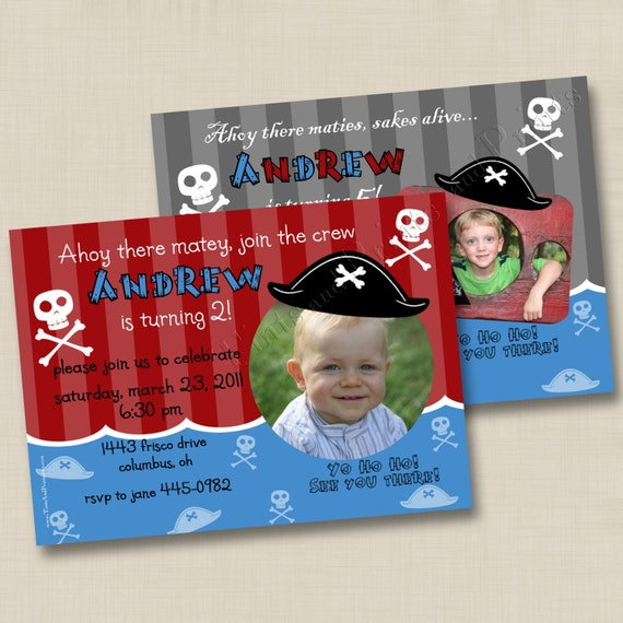 Ahoy Little Pirate Custom Photo Birthday Party Invitation Design- any age