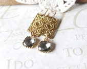 CHARMER charcoal grey crystal drop chandelier earrings (gold)