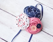 First Mate- coral and navy nautical inspired triple rosette headband