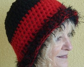 Women Fashion / Red and Black Crochet Winter Hat / Team Hat / Unique Ski Accessories
