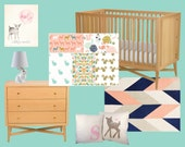 Modern Meadow (Custom Crib Set) Baby Bedding, Crib Bedding, Coral, Mint, Salmon, Gold, Navy, Turquoise Woodland Fox Squirrel Bunny Deer