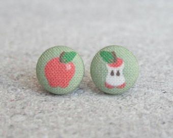 Apple Orchard Fabric Button Earrings
