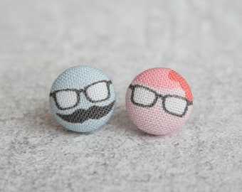Nerd Couple Fabric Button Earrings