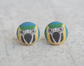 Macaw Parrot Fabric Button Earrings
