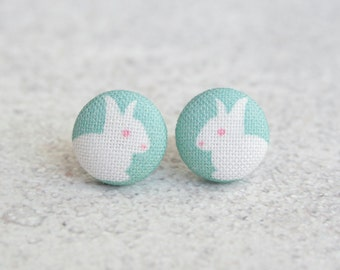 Spring Bunny Fabric Button Earrings