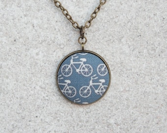 Navy Bikes, Fabric Button Pendant Necklace