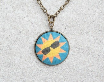 Cool Sun, Fabric Button Pendant Necklace