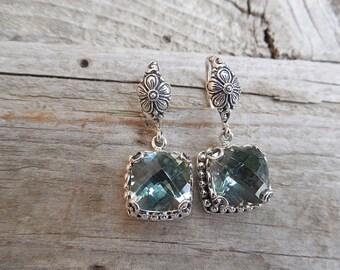 Beautiful green amethyst earring handmade in sterling silver