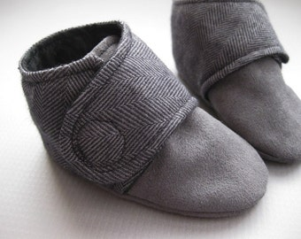 Boys shoes baby boy shoes black and grey boys shoes Velcro shoes strap shoes - Little Man