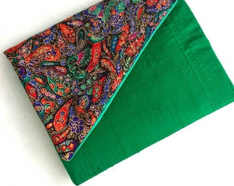 Upcycled fabric clutch- Silk shangtung and paisley satin poly