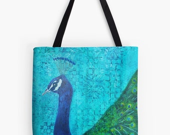 """Proud as a Peacock Tote Bag - Artist's Mixed Media Painting Design. Two Sizes Available Medium 16"""" and Large 18"""""""