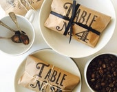 Table Number Wedding Favors. Table Numbers and Favor-All In One. Freshly Roasted Coffee Favors. Hand Stamped. Set of 10.