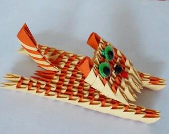 3D origami Funny Cat