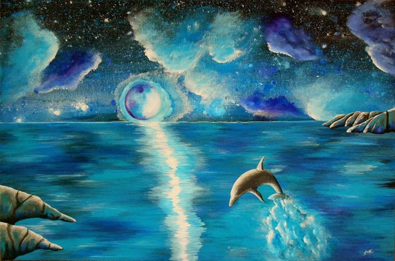 Fine Art Giclee Print of Original Painting 'Water Dance' Dolphin Blue Amber Elizabeth Lamoreaux Surreal Ocean Water Turquoise Aqua