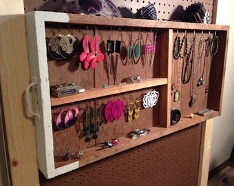 Upcycled Jewelry Organizing Display (Wood Three Section Drawer Tray)