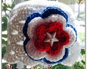 Red White and Blue Crochet Scallop Beanie with Removable Hair Clip - Newborn through 4T Sizes