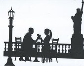 Romantic evening in New York silhouette