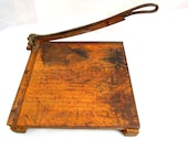 vintage antique paper cutter.1930's.school.ideal.ingento.wood.metal.