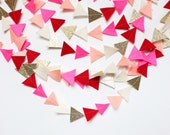 valentines day felt and glitter triangle garland- READY TO SHIP
