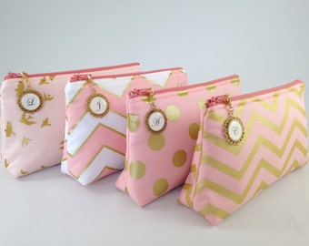 Design Your Own Clutch with Monogrammed Zipper Pull | Cosmetic or Makeup Bag | Coral Blush Pink & Metallic Gold | Custom Bridesmaid Gift Set