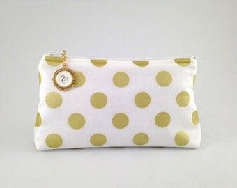 White, Ivory and Metallic Gold Polka Dot Monogrammed Zipper Clutch | Cosmetic or Makeup Bag | Custom Bridesmaid Gift