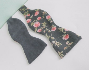Heather Grey Floral Reversible Bow Tie