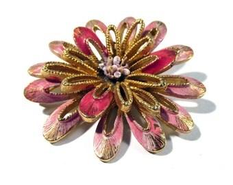 Florenza Enamel Flower Brooch VINTAGE Pink Enamel Flower Pin Brooch Signed Enamel Ready to Wear Vintage Flower Jewelry Destash (F51)