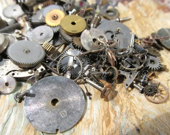 Watch Parts VINTAGE Watch Parts 20 Grams of Mechanical Movements Gears Plates Watch Gears Jewels Vintage Watch Jewelry Art Supplies (A210)