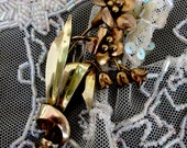 Art Nouveau Hand Crafted Vermeil Flower Pin