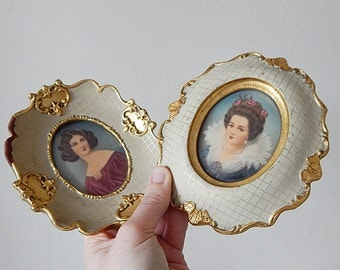 2 miniature paintings vintage Italian hand painted miniatures''''
