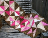 Pink Brown Batik Table Topper Triangles Mocha Kiss Handmade Quilted