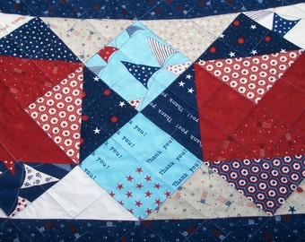 Patriotic Table Runner Red White Blue Stars Freedom Land of the Free Quilted Quiltsy Handmade Fireworks FREE U.S. Shipping