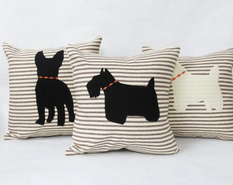 Brown Stripe Pillow with Felt Dog Silhouette, Decorative Ticking Stripe Pillow with Dog Silhouette, Your choice of Dog Breed, Home Decor