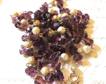 Glass Beaded Necklace Purple Beads, Faux Pearls Vintage Jewelry