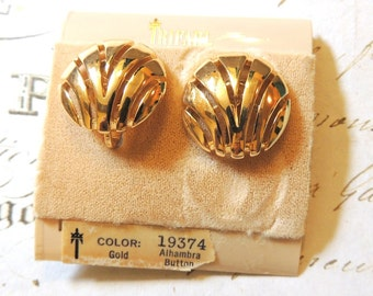 Vintage Crown Trifari Earrings Designer Clip On Vintage Jewelry