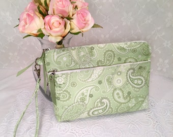 Green paisley WRISTLET CLUTCH with metal zipper and zipper pocket, detachable strap , 6 x 9 inch clutch