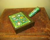 Vintage Chinese Enamel & Brass Covered Box Silent Butler Old Chinese Enamel Box Old Brass Home Decor