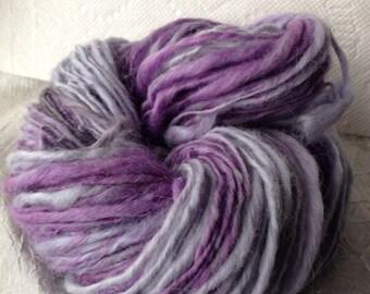 Hand Dyed, Hand Spun Merino, Silk and Alpaca Art Yarn 50G Lavender Fields Part One 110 yards Bulky yarn