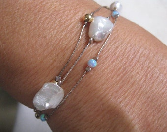 Multi Layer Pearl Bracelet with Opals, Nugget Shape Pearls on Sterling Silver Chain with Goldfill balls