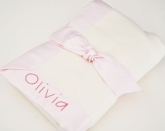 Personalized Baby Girl Blanket -- Pink Organic Baby Gift by Bankie Baby
