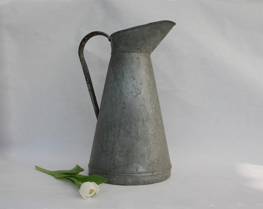 Zinc pitcher french country cottage decor large for Decoration zinc