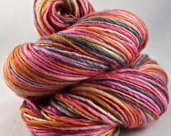 Handspun Yarn Gently Thick and Thin DK Single  Polwarth and Silk 'Orchids'