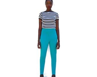 SALE!!!!!!!!!! Turquoise/aqua high waist stirrup pants 1990s 90s VINTAGE