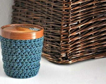 Teal Blue Ice Cream Cozy Crocheted Holder Pint Size Eco Friendly Reusable Cover Get Well Gift Friend Gift Easy Hold Stocking Stuffer