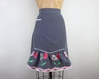 vintage 1970s Navy Gingham Half Apron with daisies + tulips + ruffles - for baking Cookies & Sweet Treats - with polka dots and rickrack